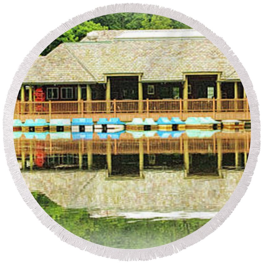 Recent Round Beach Towel featuring the photograph Boat House At Verona Park by Geraldine Scull
