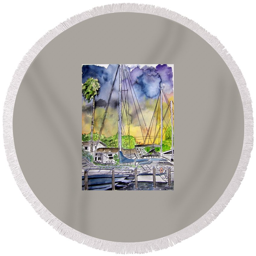 Marina Round Beach Towel featuring the painting Boat Marina by Derek Mccrea