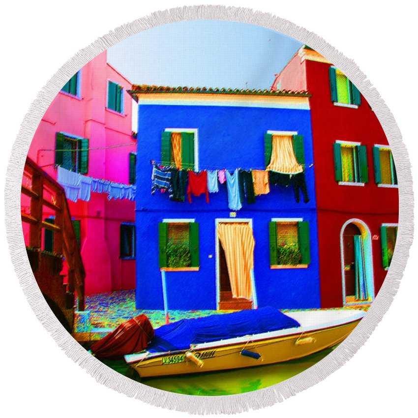 Burano Round Beach Towel featuring the pastel Boat Matching House by Donna Corless