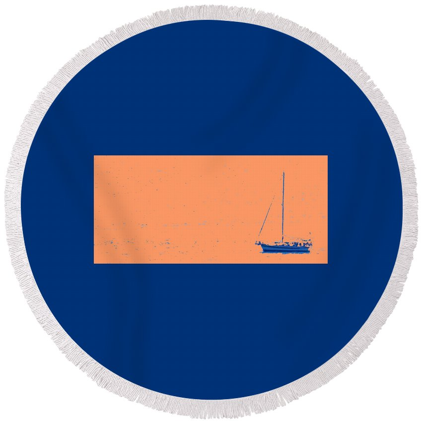 Boat Round Beach Towel featuring the photograph Boat On An Orange Sea by Ian MacDonald