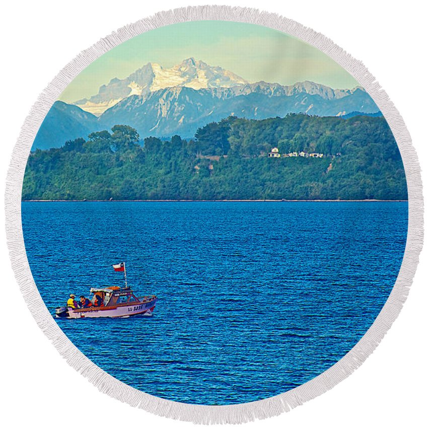 Boat On Llanquihue Lake From Puerto Varas Round Beach Towel featuring the photograph Boat On Llanquihue Lake From Puerto Varas-chile by Ruth Hager