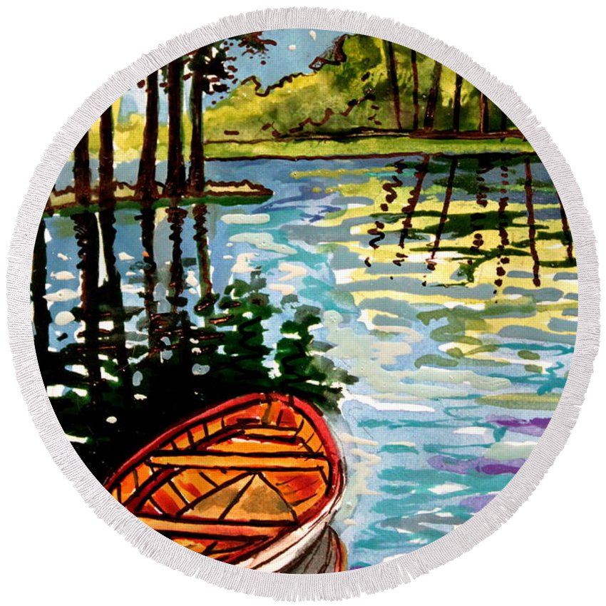 Boat Round Beach Towel featuring the painting Boat On The Bayou by Elizabeth Robinette Tyndall