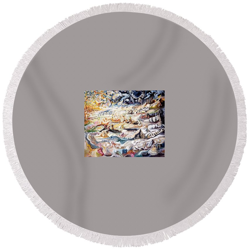 Surrealism Round Beach Towel featuring the painting Boat Pilgrimage by Timothy Michael Foley