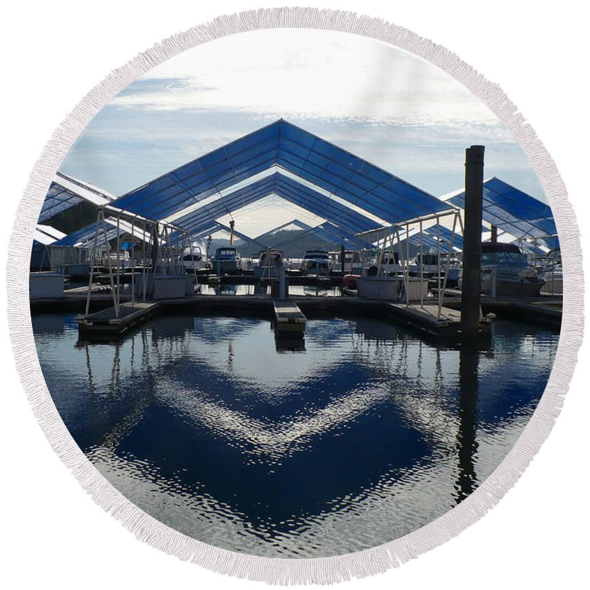 Boats Round Beach Towel featuring the photograph Boat Reflection On Lake Coeur D'alene by Carol Groenen