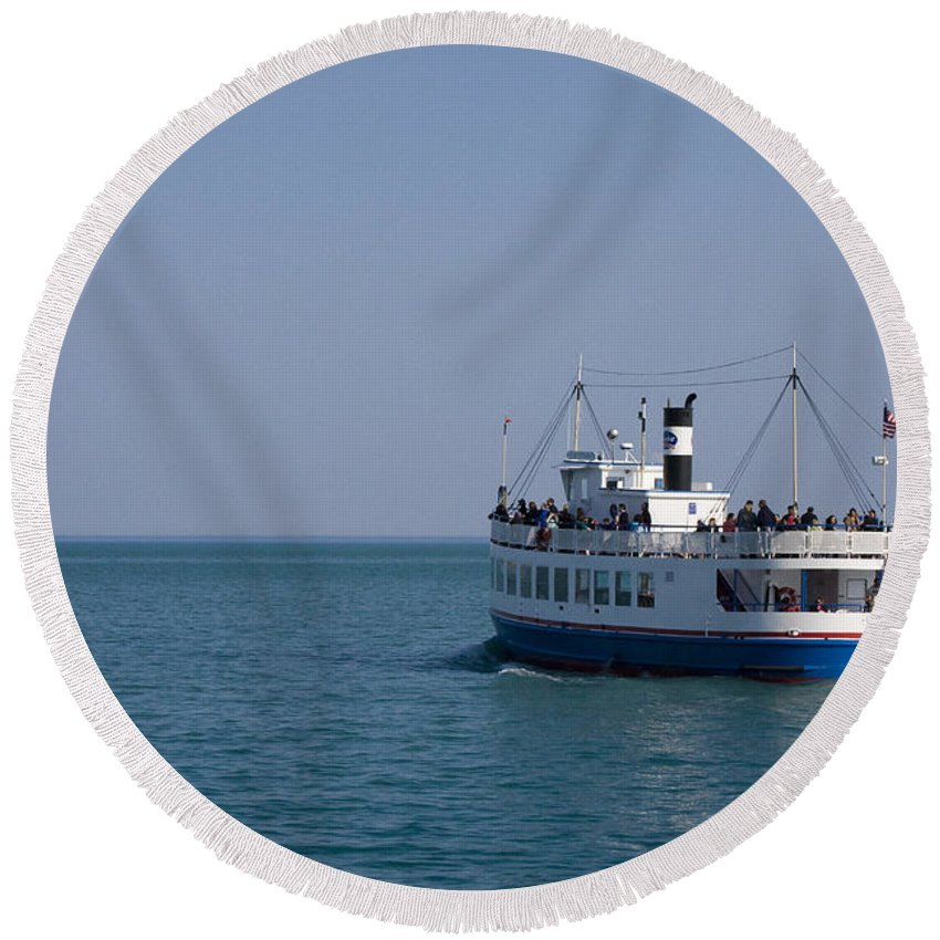 Boat Ride Chicago Windy City Tourist Tourism Travel Water Lake Michigan Attraction Blue Sky Round Beach Towel featuring the photograph Boat Ride by Andrei Shliakhau