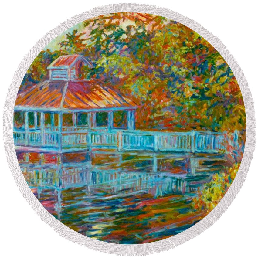 Mountain Lake Round Beach Towel featuring the painting Boathouse At Mountain Lake by Kendall Kessler