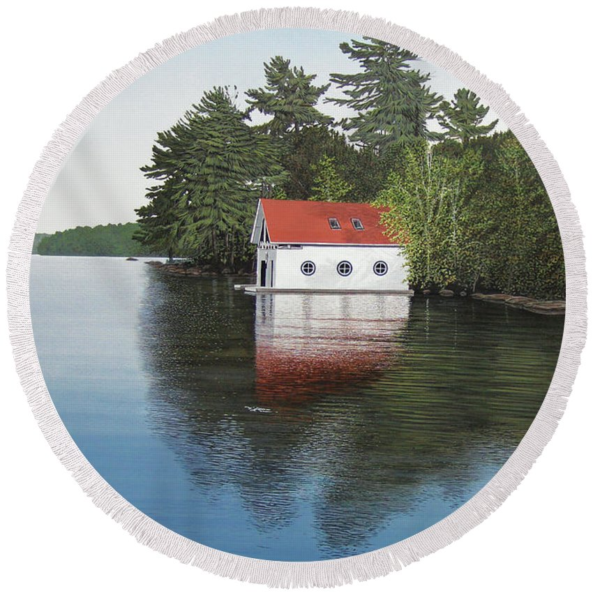 Canoe Round Beach Towel featuring the painting Boathouse by Kenneth M Kirsch