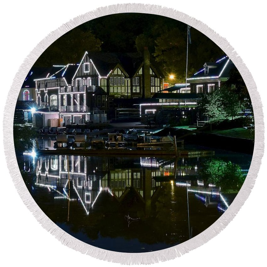 Boathouse Round Beach Towel featuring the photograph Boathouse Row Eight By Ten by Frozen in Time Fine Art Photography