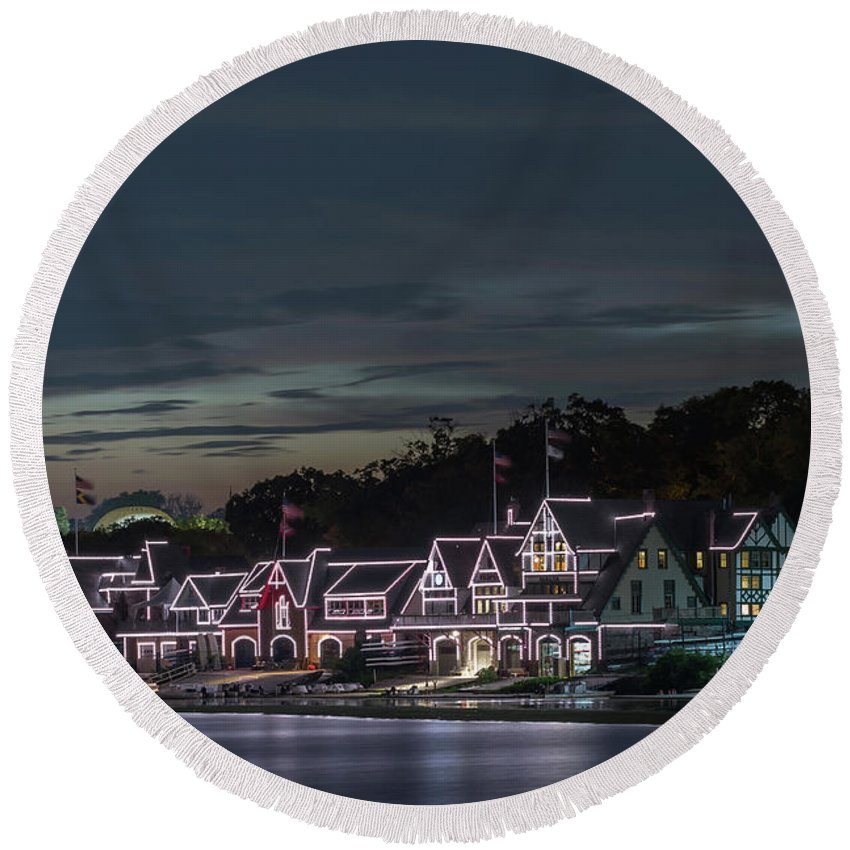 Boathouse Row Philly Pa Night Round Beach Towel featuring the photograph Boathouse Row Philly Pa Night by Terry DeLuco