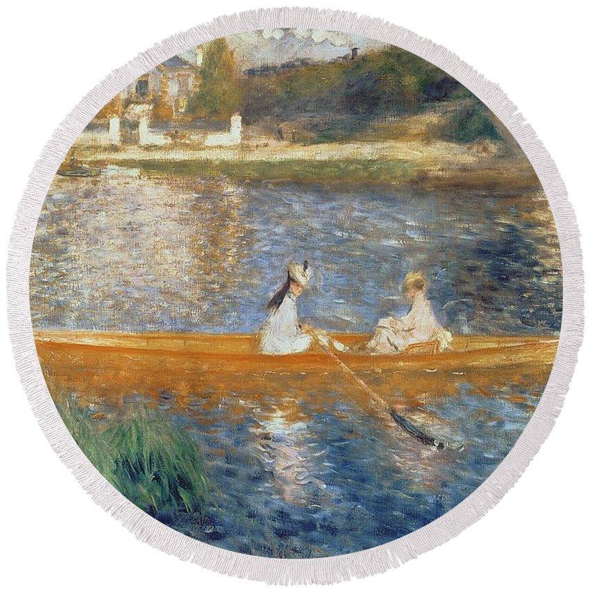 Boating On The Seine Round Beach Towel featuring the painting Boating On The Seine by Pierre Auguste Renoir