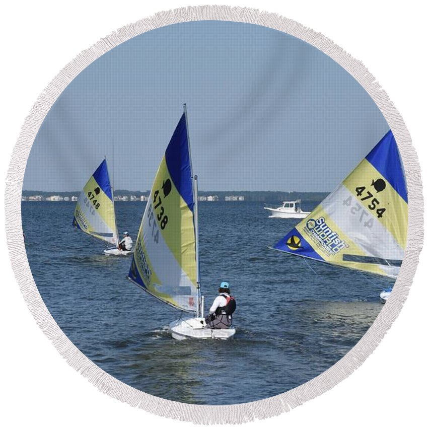 Boats Round Beach Towel featuring the photograph Boats 172 by Joyce StJames