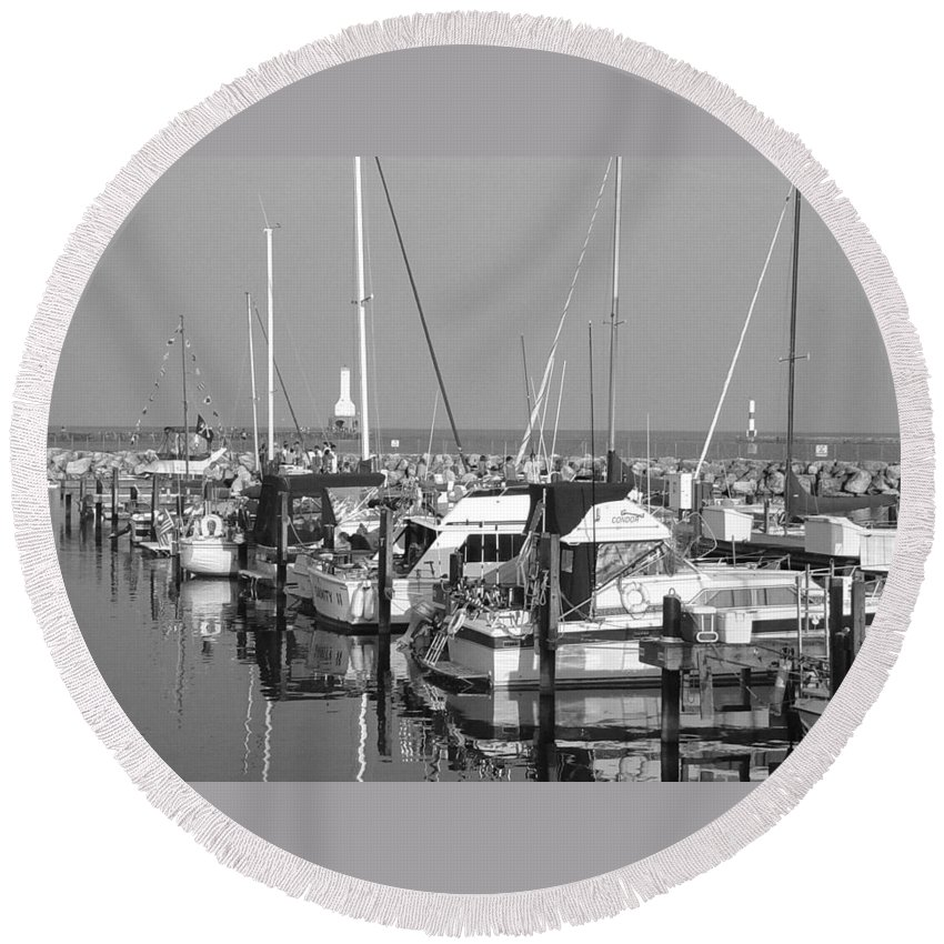 Sailboats Round Beach Towel featuring the photograph Boats And Reflections B-w by Anita Burgermeister