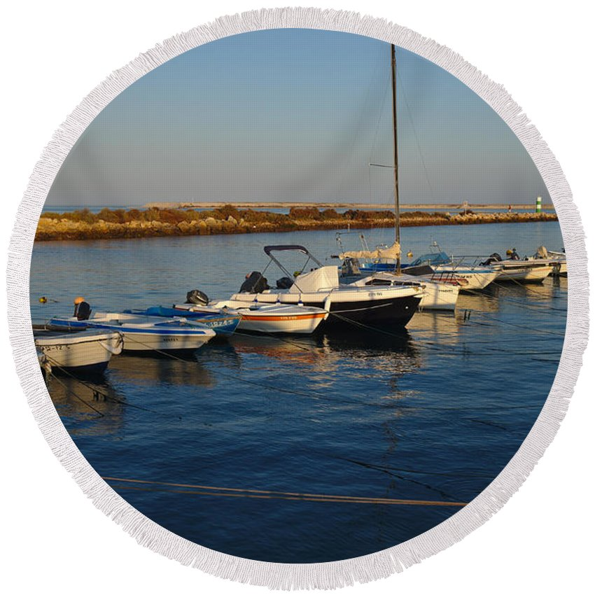 Portugal Round Beach Towel featuring the photograph Boats At Sunset In Fuzeta by Angelo DeVal