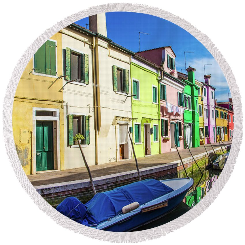 Burano Round Beach Towel featuring the photograph Boats In Burano by Darryl Brooks