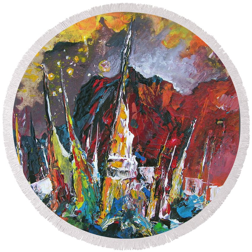 Boats Painting Seacape Spain Acrylics Calpe Costa Blanca Round Beach Towel featuring the painting Boats In Calpe 01 Spain by Miki De Goodaboom