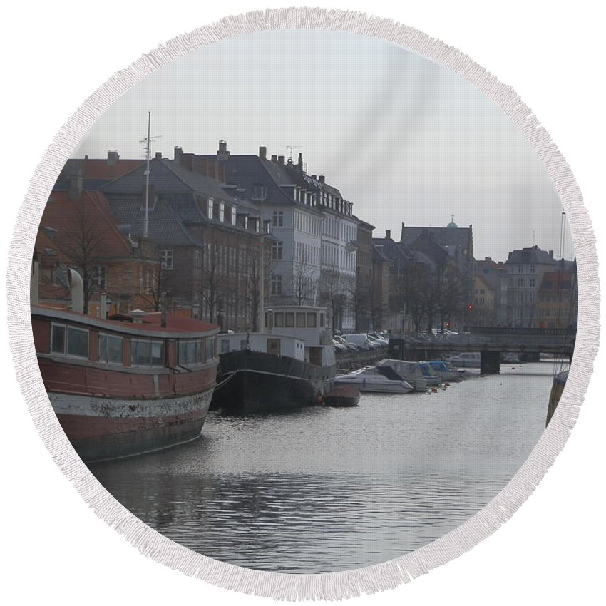 Europe Round Beach Towel featuring the photograph Copenhagen Waterway by Margaret Brooks