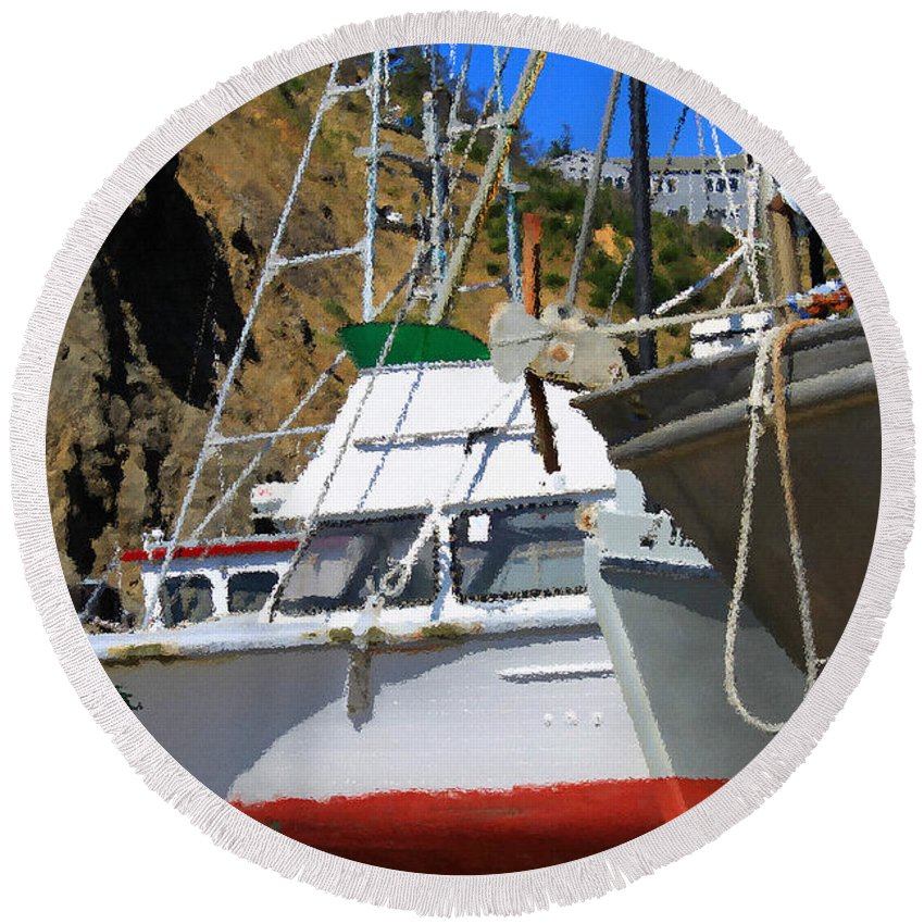 Anchor Round Beach Towel featuring the photograph Boats In Drydock by James Eddy