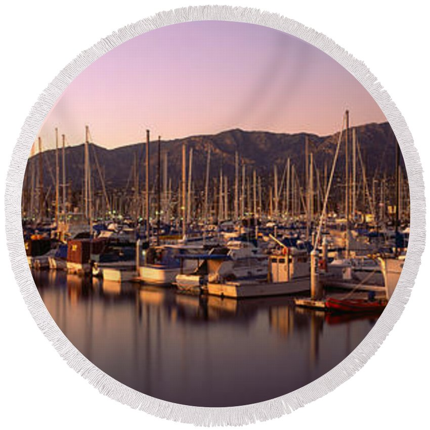Photography Round Beach Towel featuring the photograph Boats Moored At A Harbor, Stearns Pier by Panoramic Images