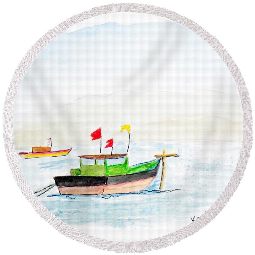 Boats Round Beach Towel featuring the painting Boats Near Khashid Beach by Keshava Shukla
