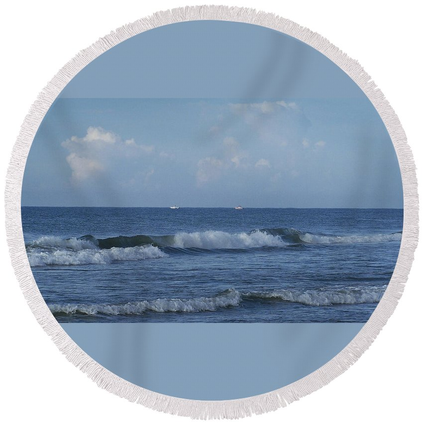 Ocean Round Beach Towel featuring the photograph Boats On The Horizon by Teresa Mucha