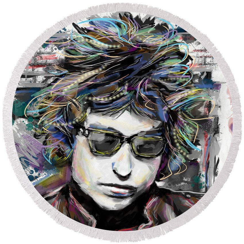 Bob Dylan Round Beach Towel featuring the mixed media Bob Dylan Art by Ryan Rock Artist