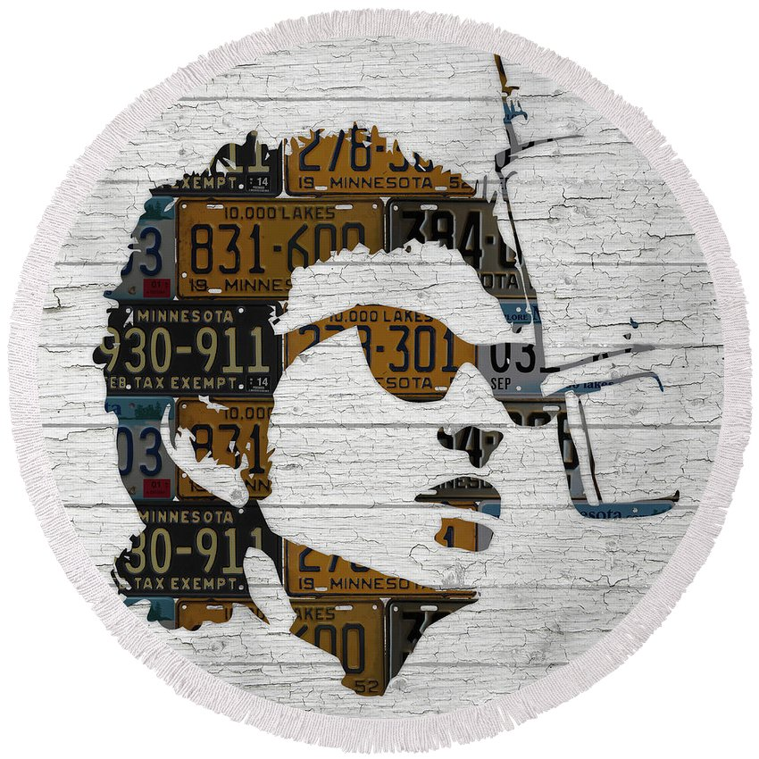 Bob Dylan Round Beach Towel featuring the mixed media Bob Dylan Minnesota Native Recycled Vintage License Plate Portrait On White Wood by Design Turnpike