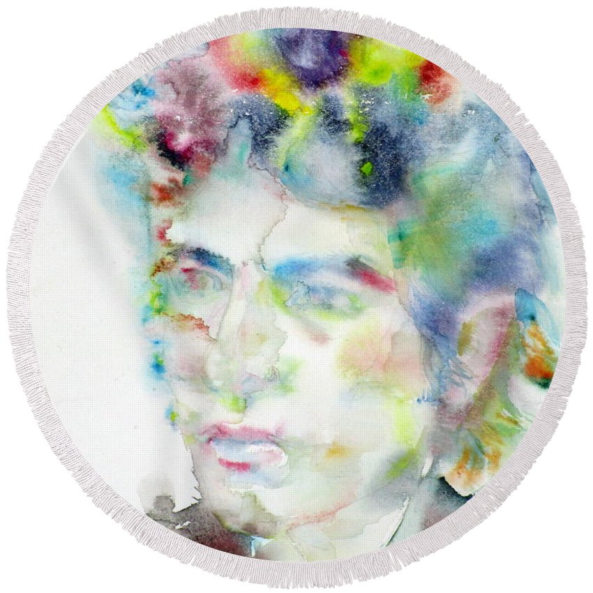 Bob Dylan Round Beach Towel featuring the painting Bob Dylan - Watercolor Portrait.4 by Fabrizio Cassetta