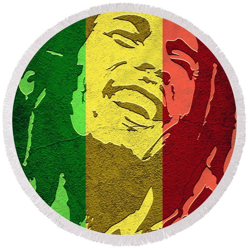 Bob Marley Round Beach Towel featuring the digital art Bob Marley I by Binka Kirova