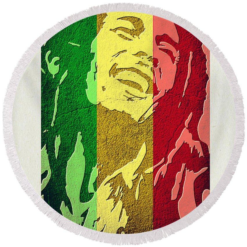 Bob Marley Round Beach Towel featuring the digital art Bob Marley II by Binka Kirova