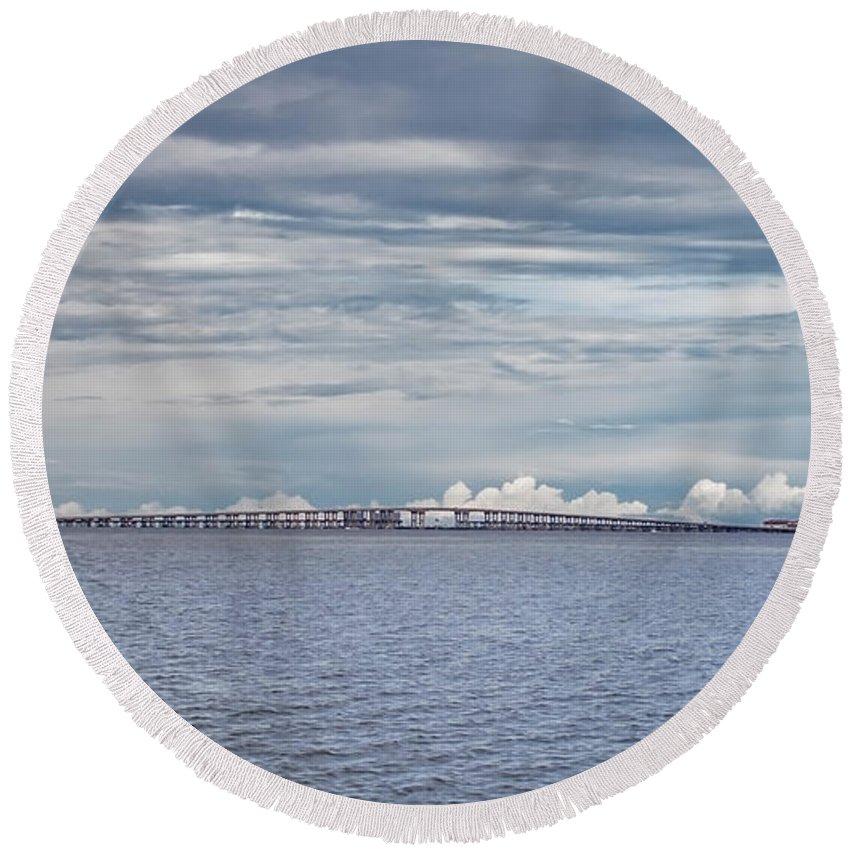 Bob Sikes Bridge Round Beach Towel featuring the photograph Bob Sikes Bridge by Mechala Matthews