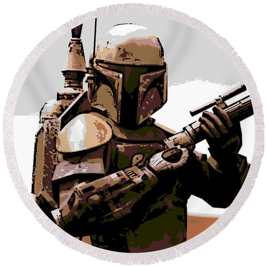 Star Wars Round Beach Towel featuring the photograph Boba Fett by George Pedro