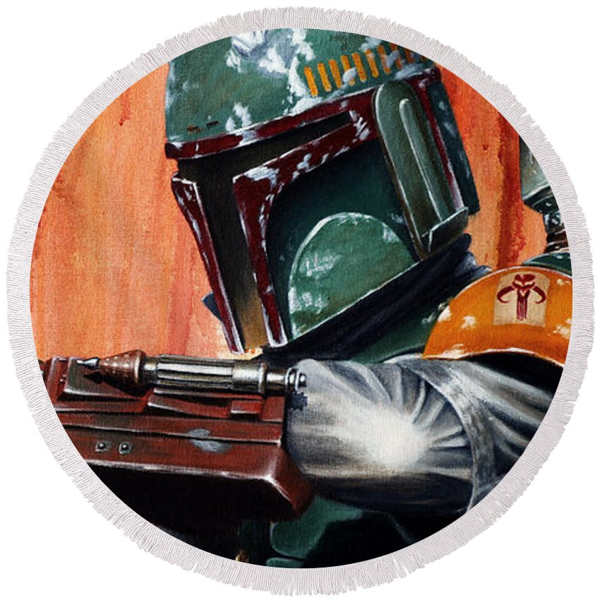 Star Wars Round Beach Towel featuring the painting Boba Fett by Marlon Huynh