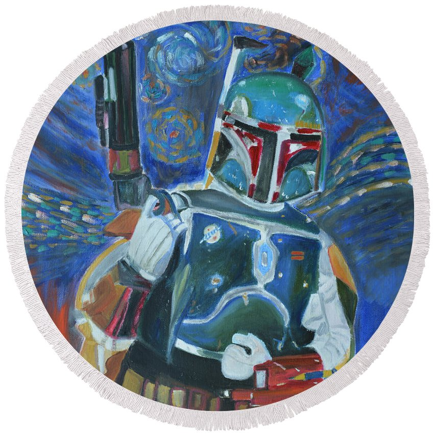 Star Wars Round Beach Towel featuring the painting Boba Fett by To-Tam Gerwe