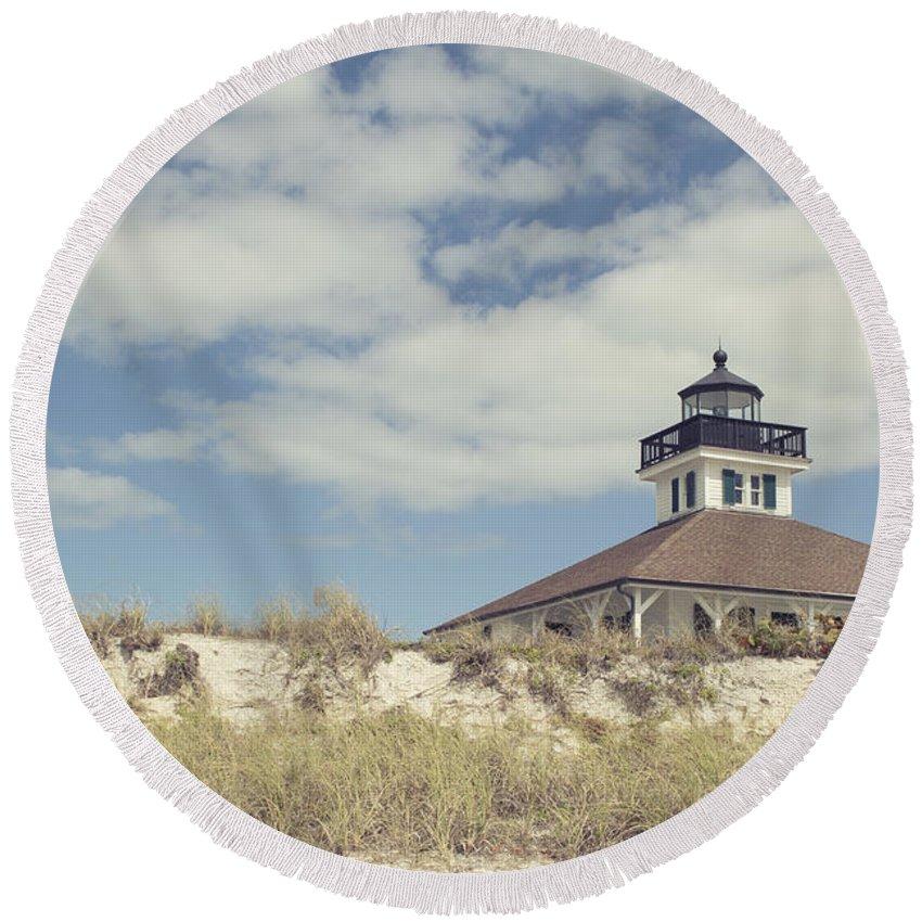 Boca Grande Round Beach Towel featuring the photograph Boca Grande Lighthouse by Stephanie McDowell