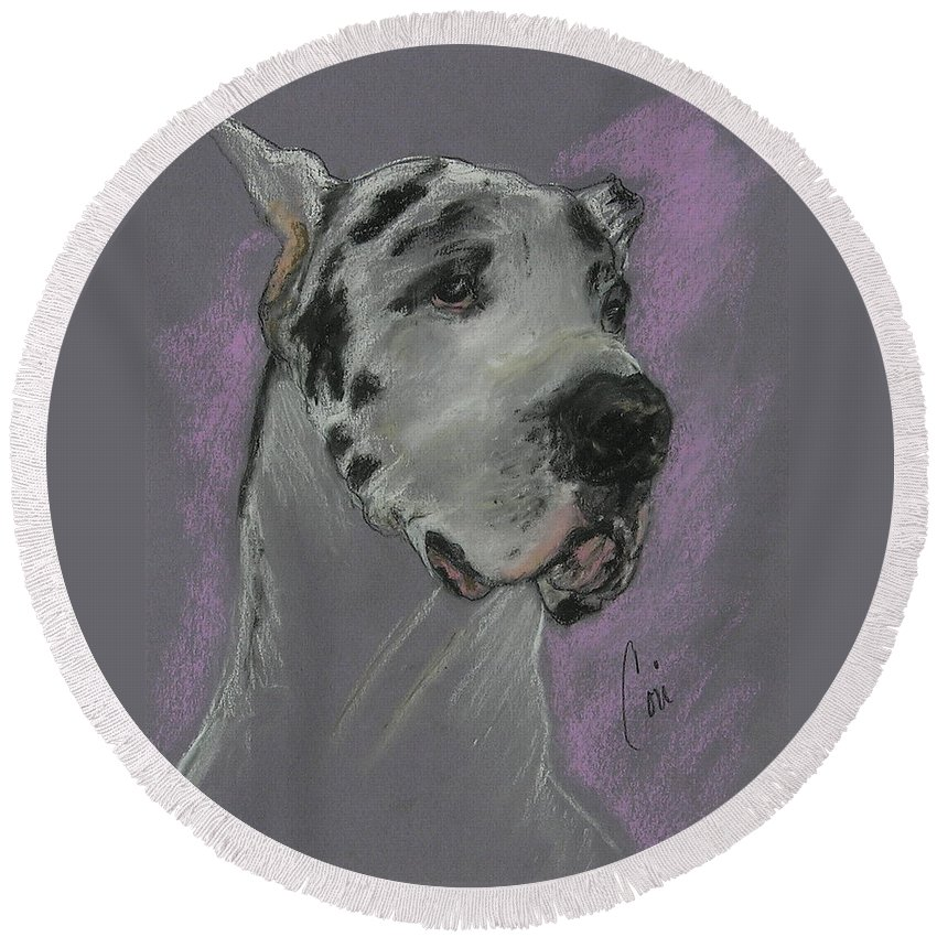 Great Dane Round Beach Towel featuring the drawing Bodhi's Mystique by Cori Solomon
