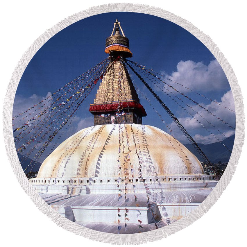 Bodhnath Stupa Round Beach Towel featuring the photograph Bodhnath Stupa by Patrick Klauss
