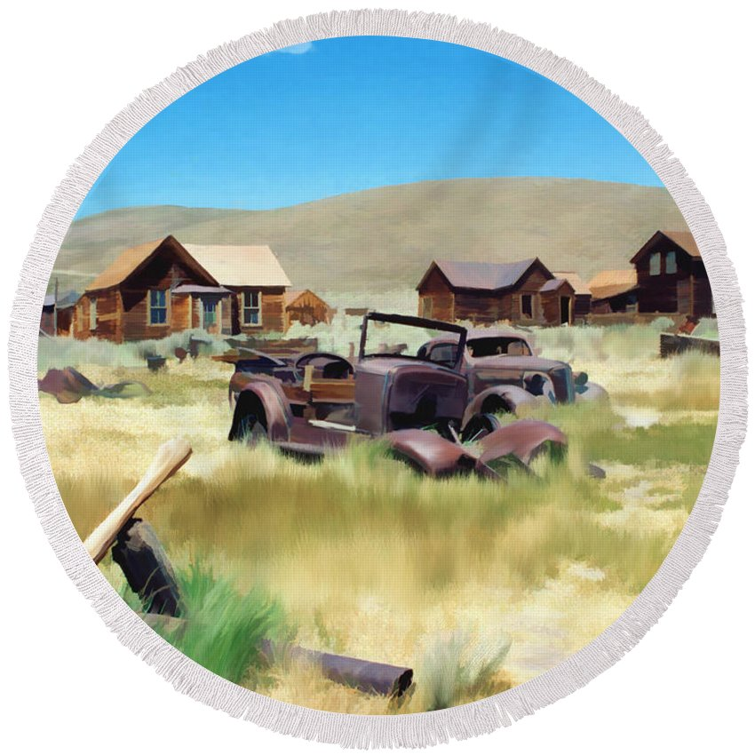 Bodie Round Beach Towel featuring the photograph Bodie by Kurt Van Wagner