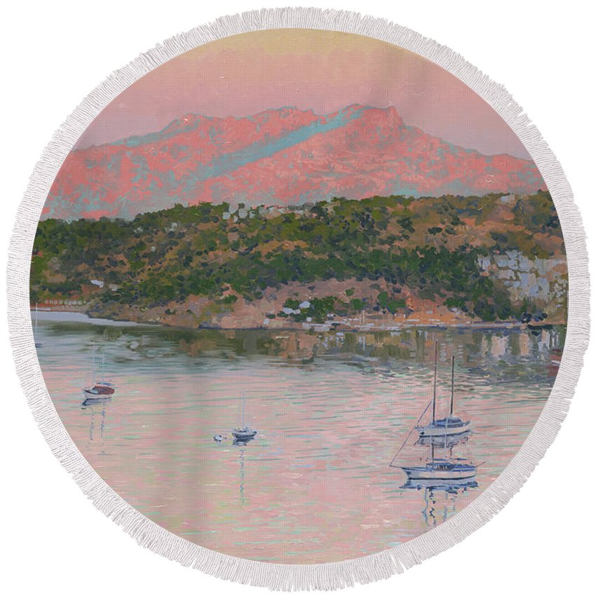 Bodrum Round Beach Towel featuring the painting Bodrum.pink Sunrise by Simon Kozhin