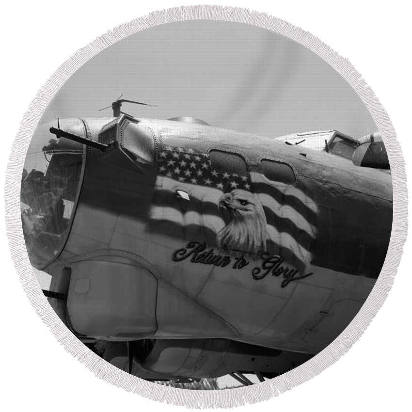 Boeing Round Beach Towel featuring the photograph Boeing B-17g Flying Fortress Nose Art by Tommy Anderson