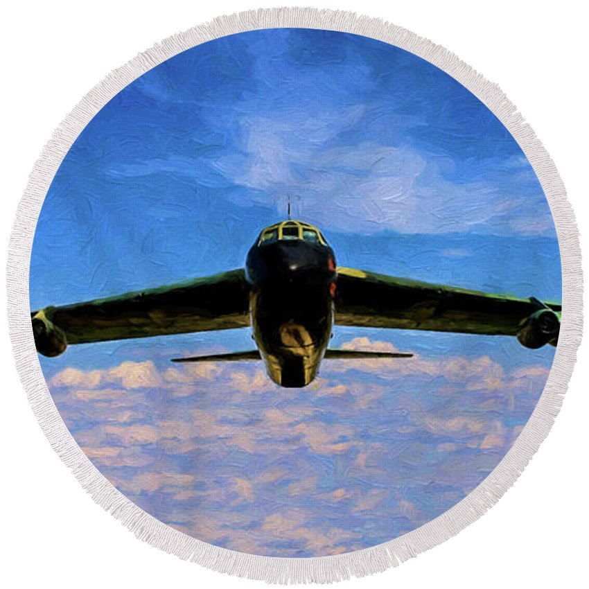 Boeing B-52 Stratofortress Round Beach Towel featuring the photograph Boeing B-52 Stratofortress Oil by Tommy Anderson