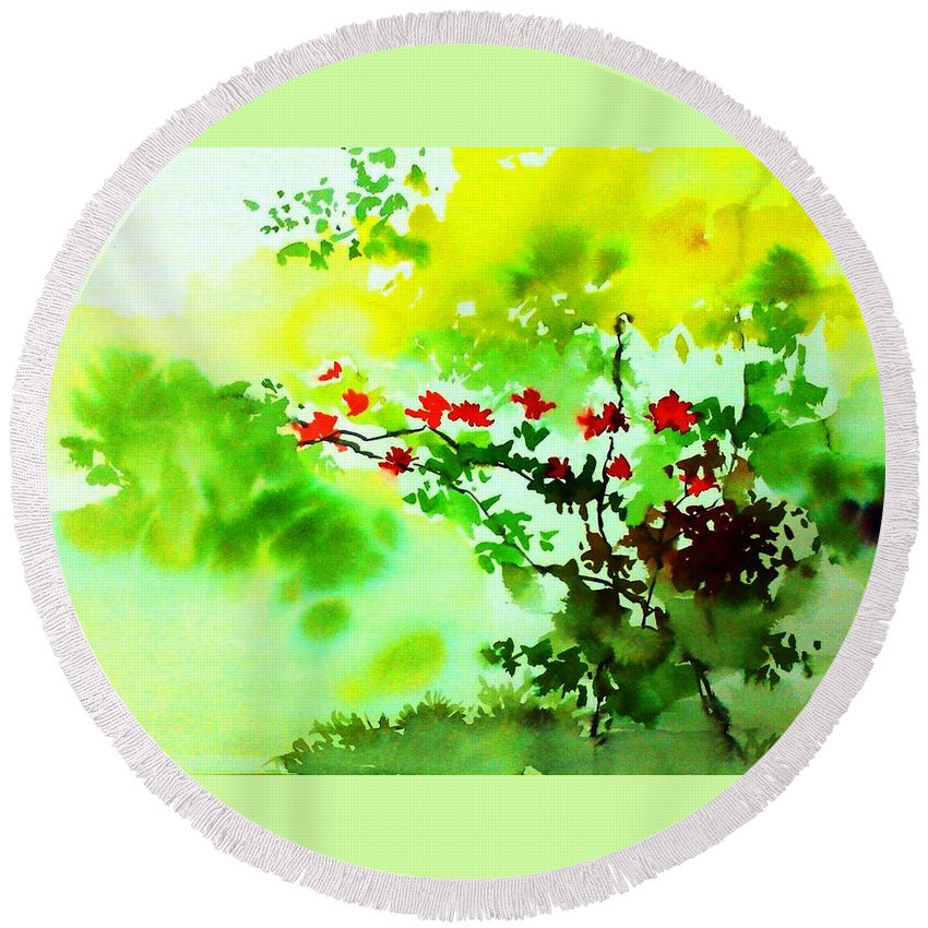 Floral Round Beach Towel featuring the painting Boganwel by Anil Nene