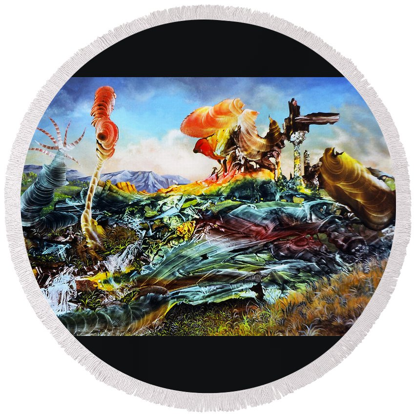 Landscape Round Beach Towel featuring the painting Bogomil Landscape by Otto Rapp