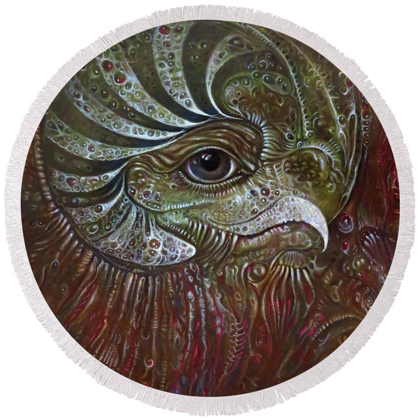 Art Of The Mystic Round Beach Towel featuring the painting Bogomils Avatar Revisited by Otto Rapp