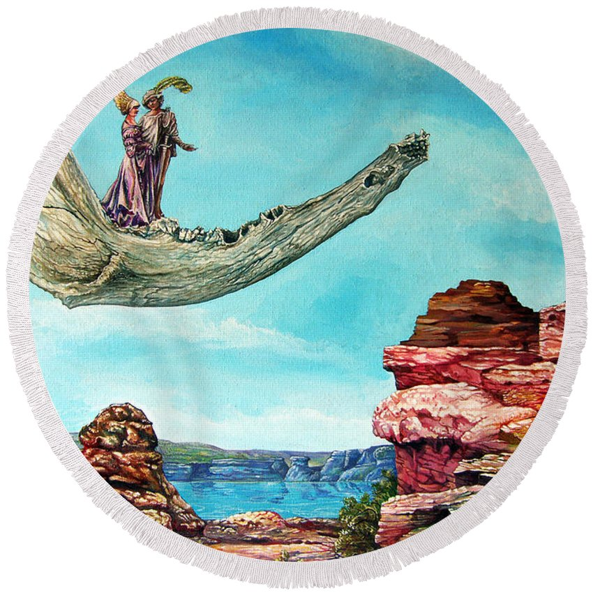 Painting Round Beach Towel featuring the painting Bogomils Journey by Otto Rapp
