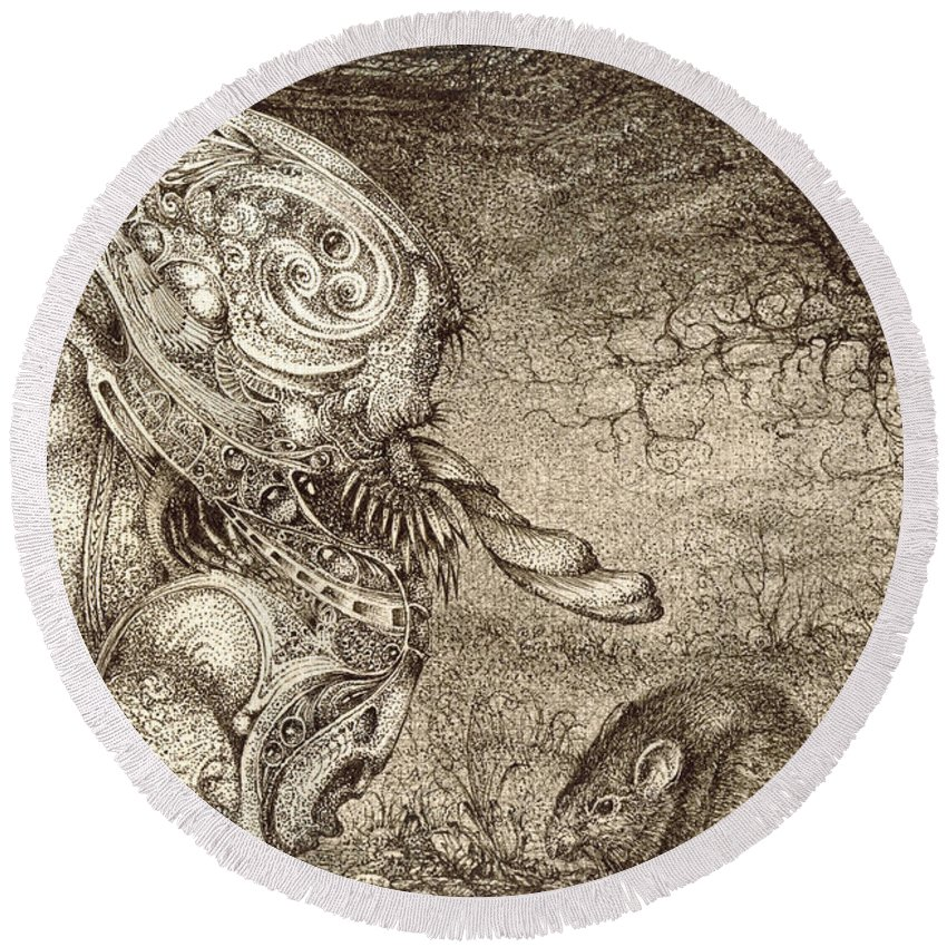 Surreal Round Beach Towel featuring the drawing Bogomils Mousetrap by Otto Rapp
