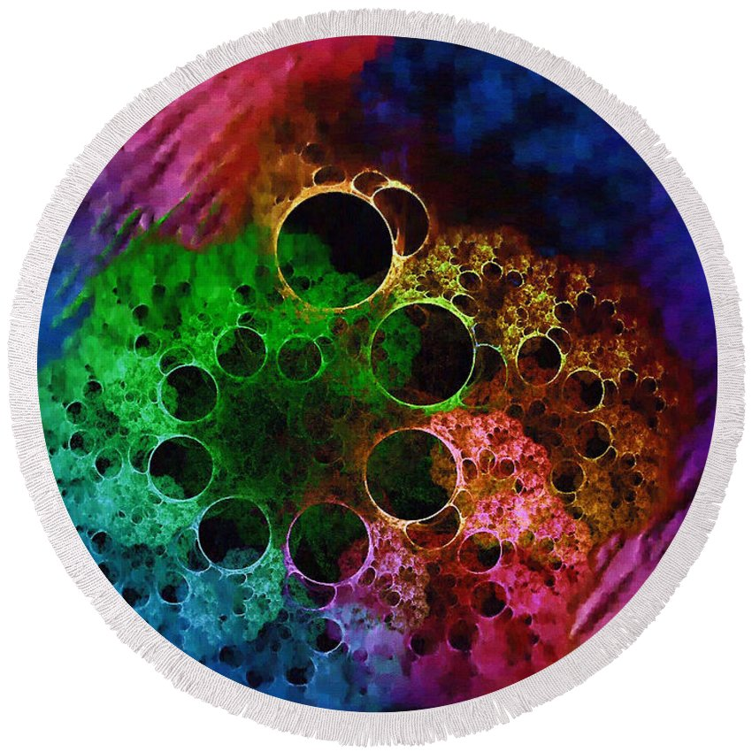 Fractal Art Round Beach Towel featuring the digital art Boil And Bubble by Mario Carini