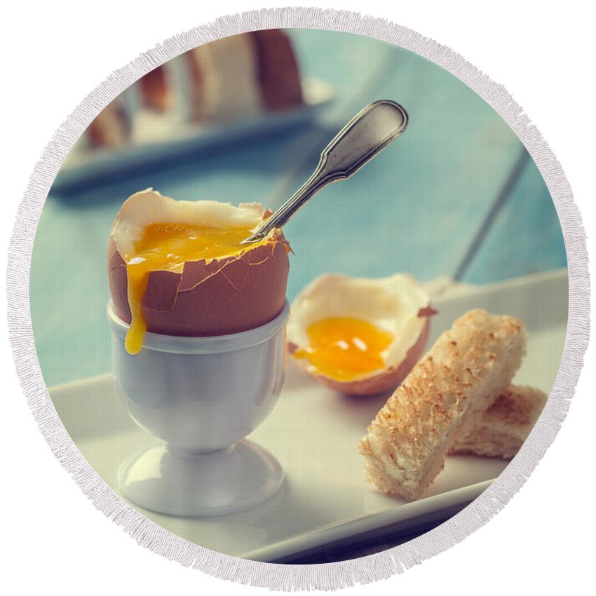Soft Round Beach Towel featuring the photograph Boiled Egg With Spoon by Amanda Elwell