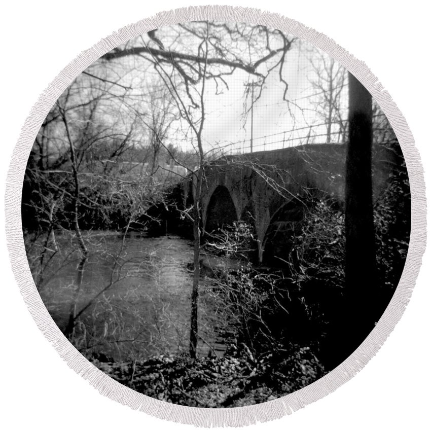 Photograph Round Beach Towel featuring the photograph Boiling Springs Bridge by Jean Macaluso