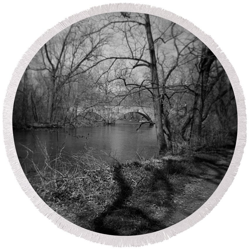 Photograph Round Beach Towel featuring the photograph Boiling Springs Stone Bridge by Jean Macaluso