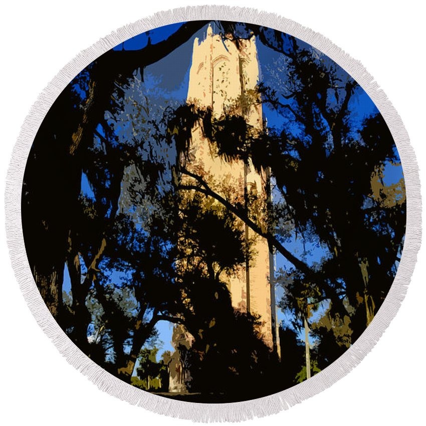Bok Tower Round Beach Towel featuring the painting Bok Tower by David Lee Thompson